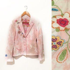 Johnny Was embroidered blazer jacket pink brown M